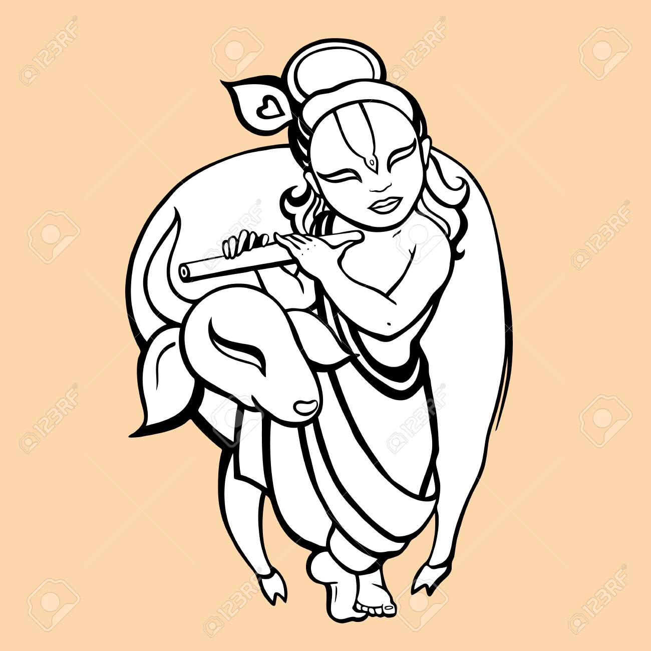 Dios Hindú Krishna. Vector Dibujado A Mano Ilustración ...