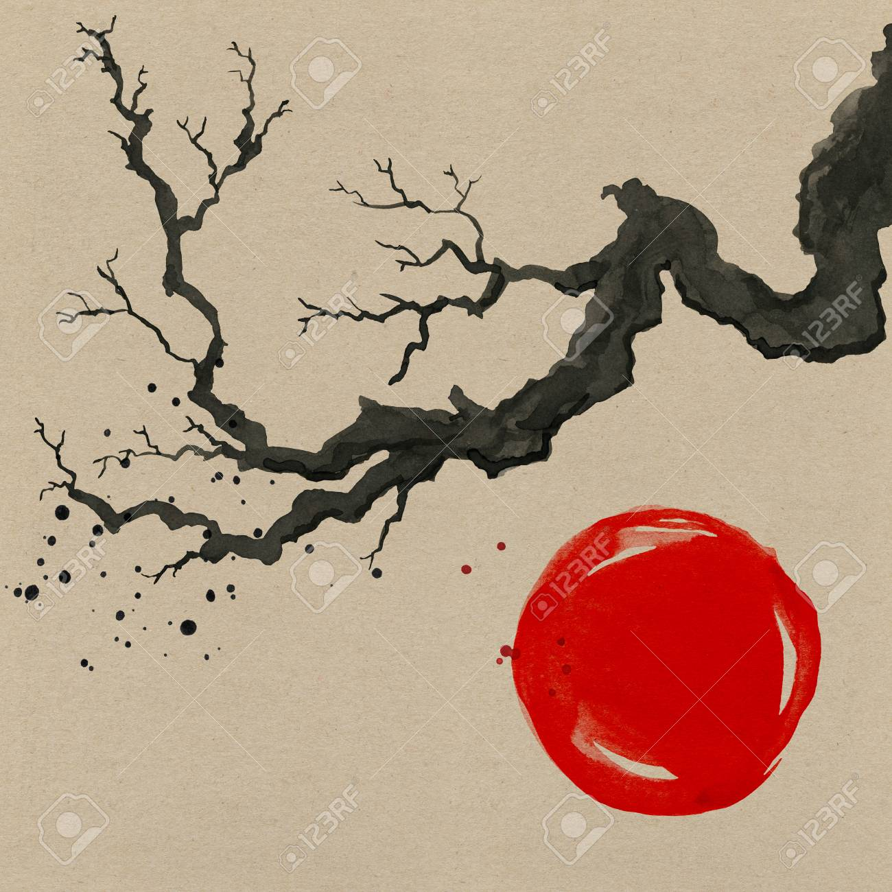 Tree Branch In Japanese Style Watercolor Hand Painting Illustration Stock Photo Picture And Royalty Free Image Image 105343121