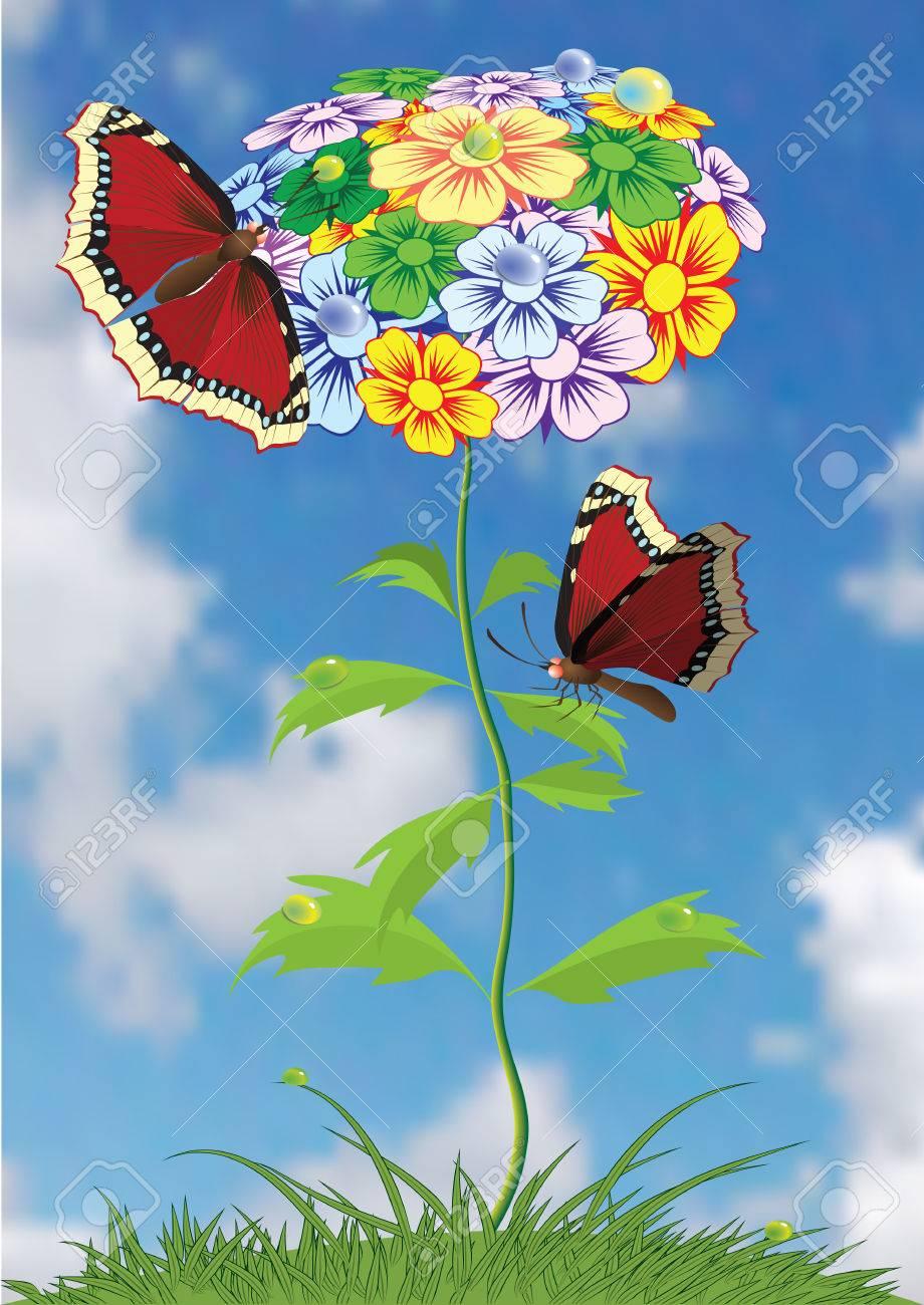 Butterflies sittings on flower. Vectorial illustration. Stock Vector - 6464666