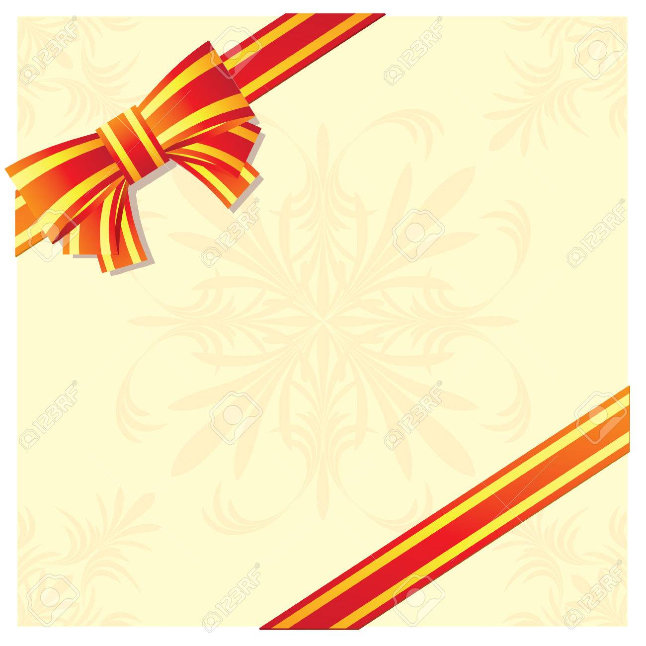 Celebratory card decorated with a tape with a bow. Stock Vector - 6578828