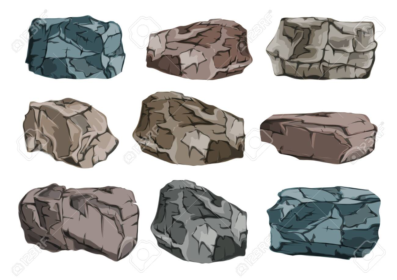 A set of stone blocks. Heavy, massive granite glitches. Vector illustration. - 124289037