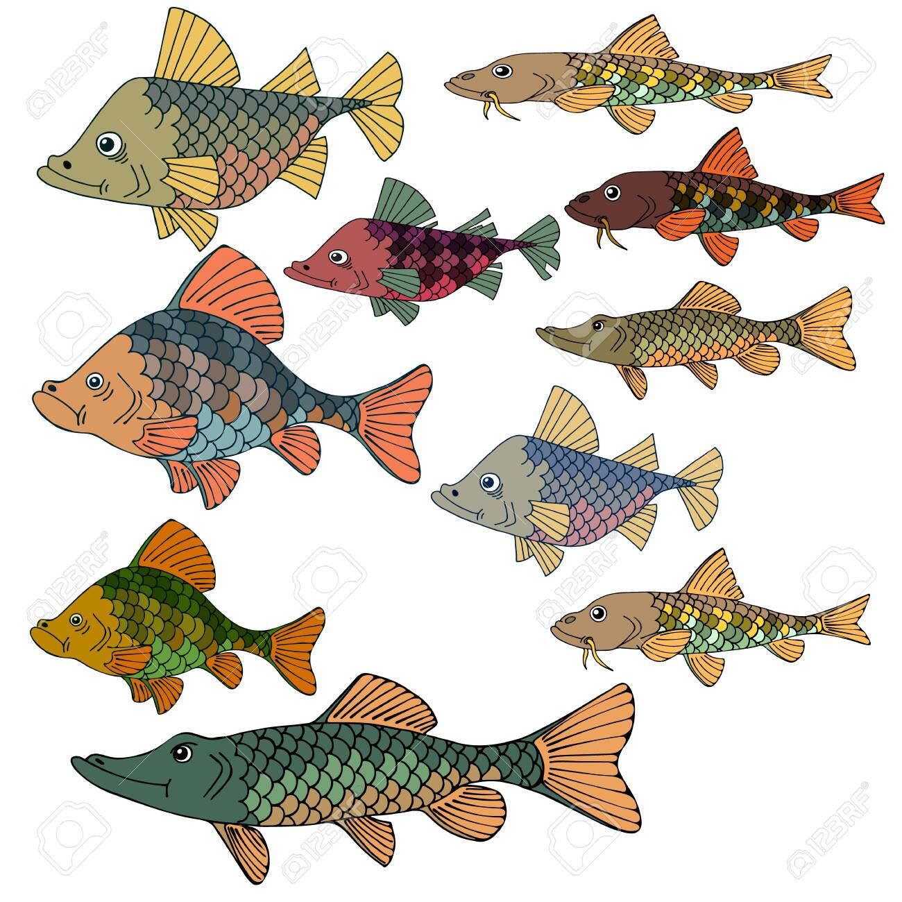 Set of sea fish. Underwater world. Great silence of the depths. Vector illustration. - 123687052