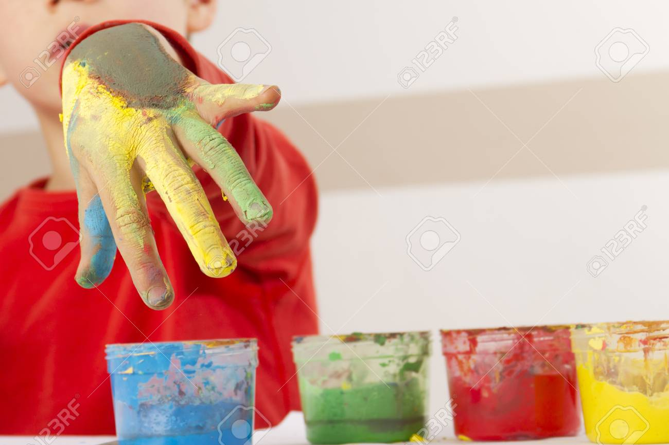 Painted hand of a young boy Stock Photo - 13555091