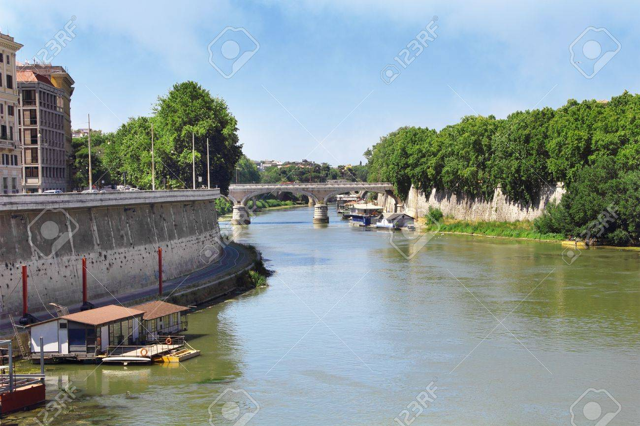 Tiber River  Ponte Sisto   Panoramic View  Rome  Italy Stock Photo - 16537215