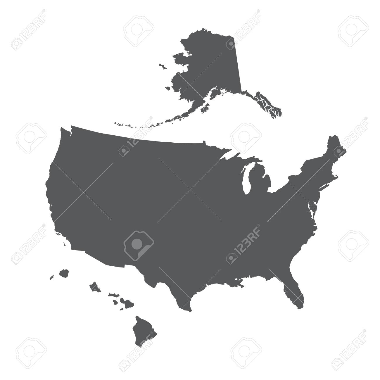 USA map outline with Alaska and Hawaii islands