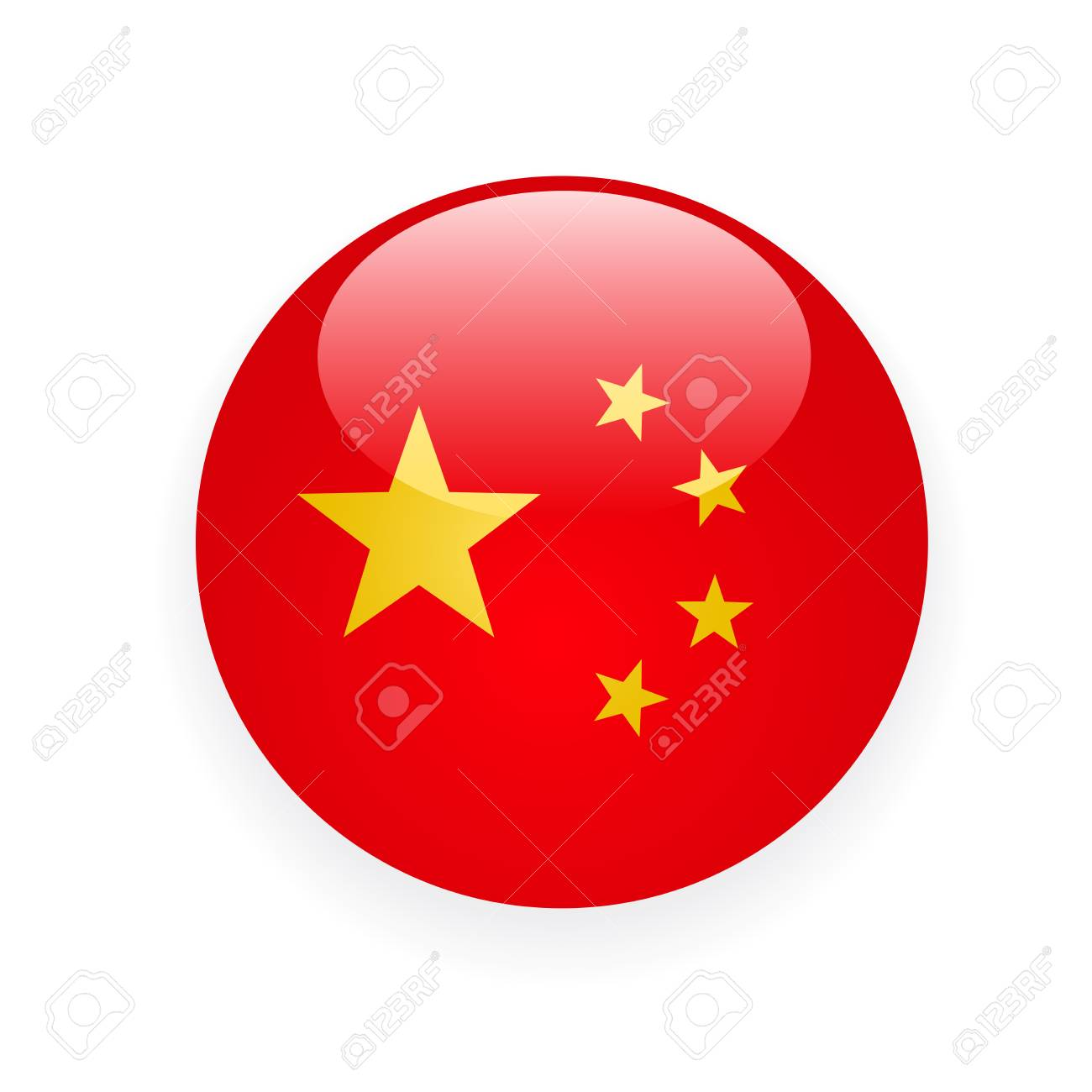 China Flag Round Button Icon On White Background Royalty Free Cliparts Vectors And Stock Illustration Image 114757513