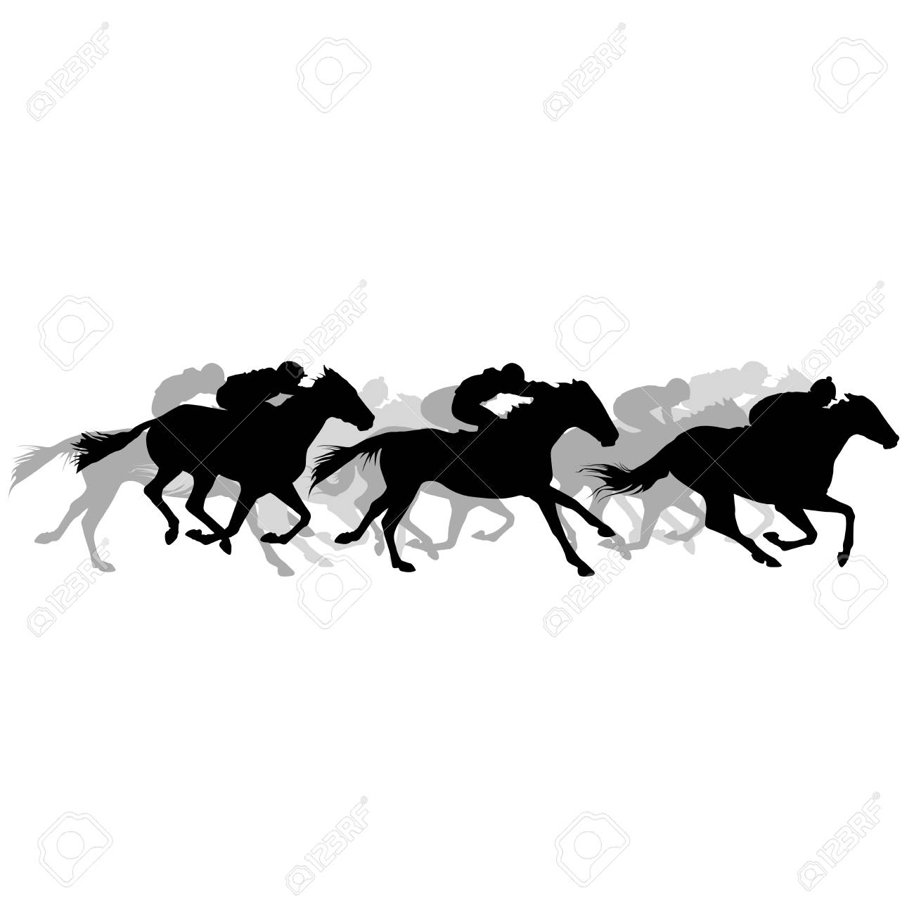 Horse Race Silhouette Of Running Horses With Jockey Royalty Free Cliparts Vectors And Stock Illustration Image 114736698
