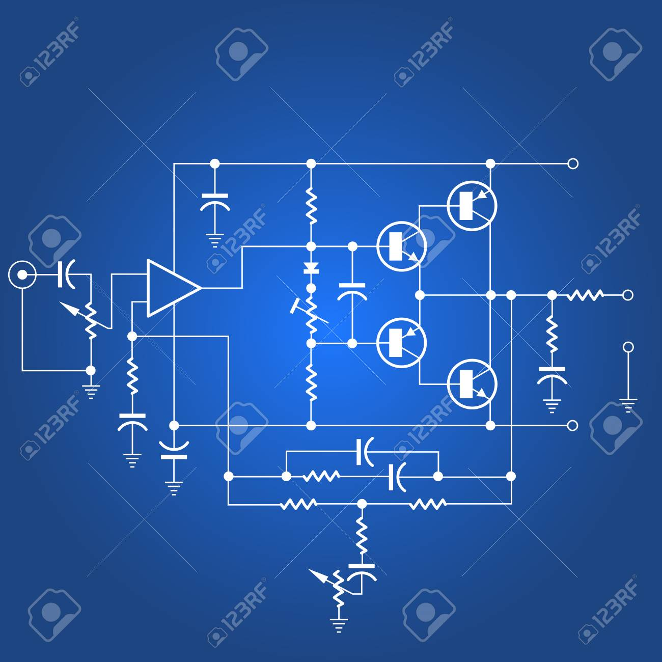 Electric circuit or electrical network on blue background - 114736712