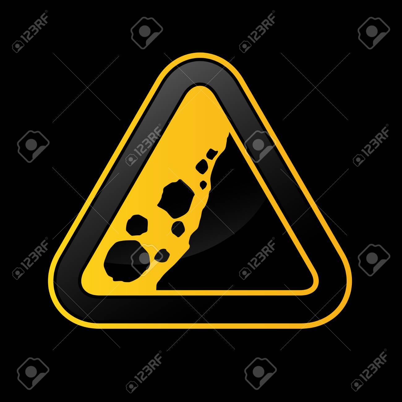 Rockfall triangular traffic sign on black background - rockslide icon - 105311054