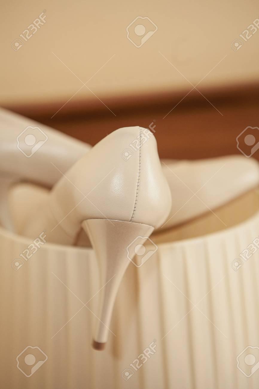 Hochzeitsschuhe Weiss Close Up Fur Die Schonste Braut Lizenzfreie