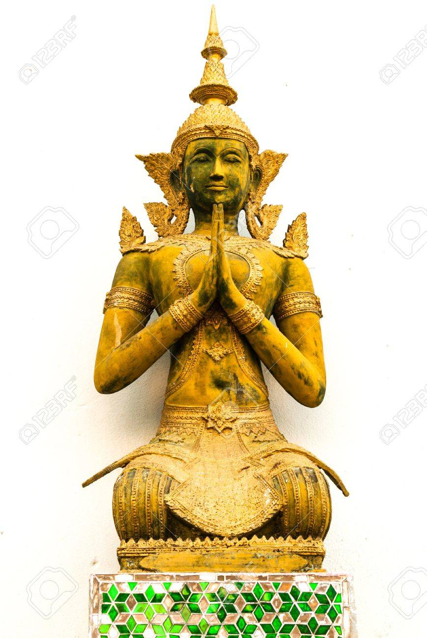 Thai angel statues in the temple  On a white background Stock Photo - 13508659