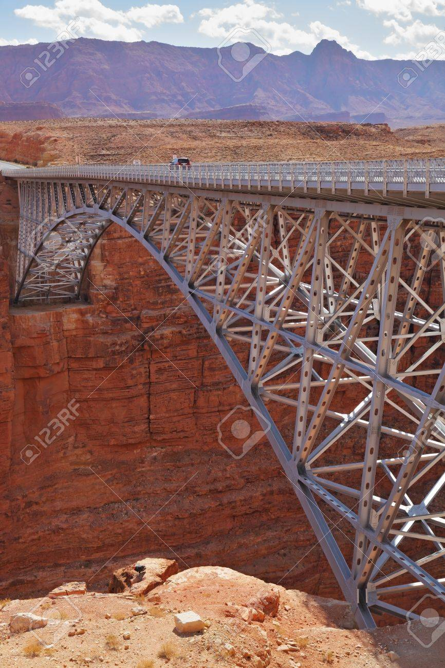 Sleek modern bridge across the Colorado River in the Navajo Reservation Stock Photo - 7115459