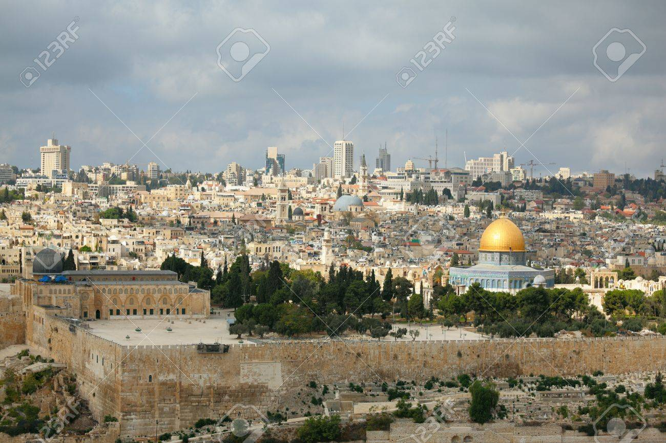 Magnificent panorama of Jerusalem  Dome of the Rock, Omar Mosque and the Dome of the Holy Sepulcher Stock Photo - 17174708