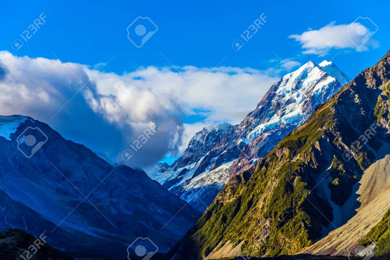 The Famous Mount Cook In New Zealand Snow Covered Mountains