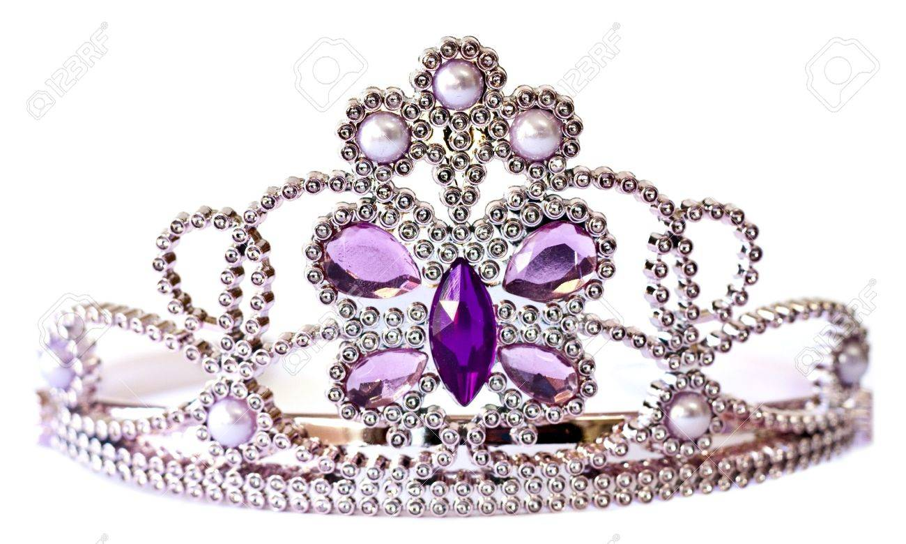 Silver color tiara with purple and lilac stones and pearls isolated on white background Stock Photo
