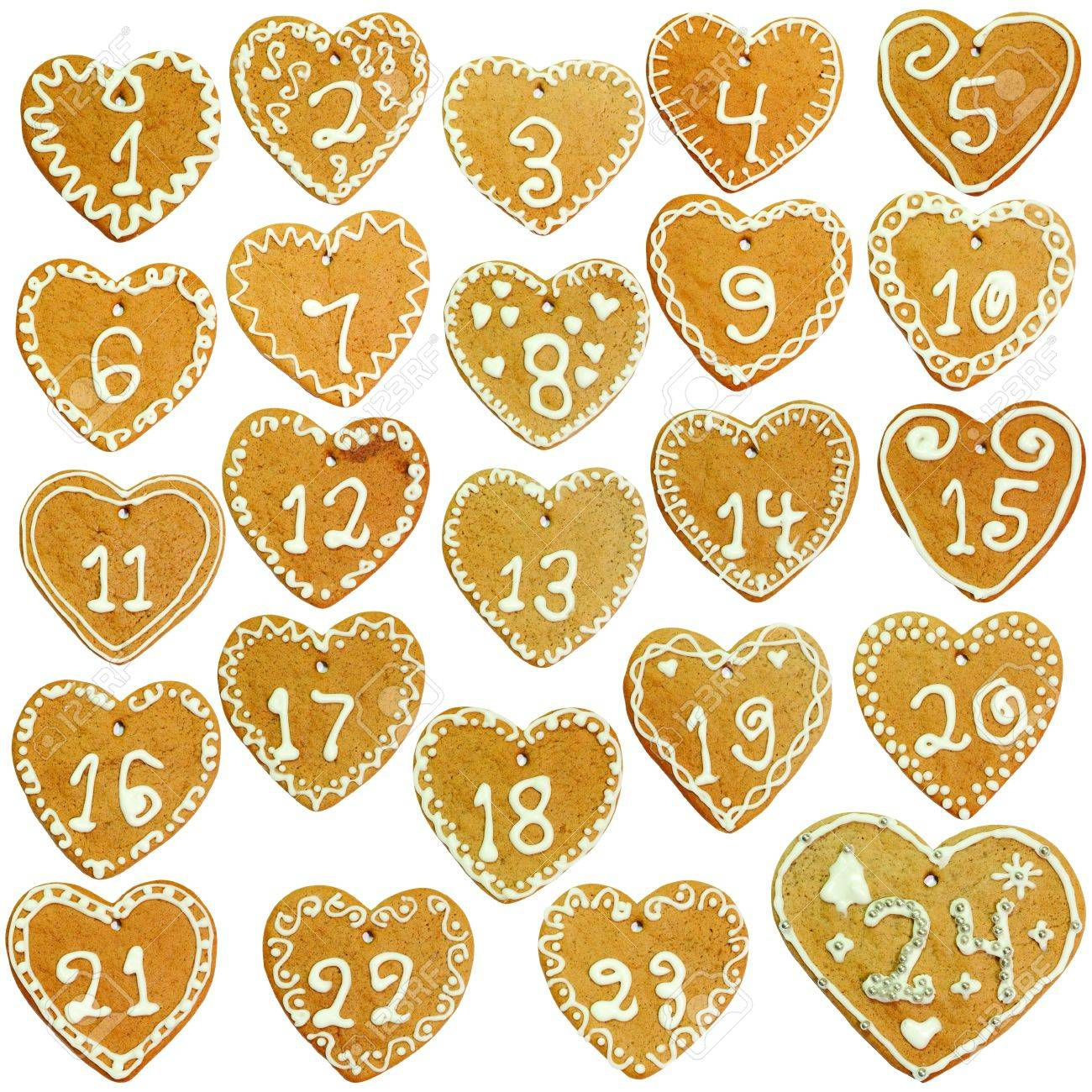 Gingerbread calendar; 24 decorated hearts Stock Photo - 11303646