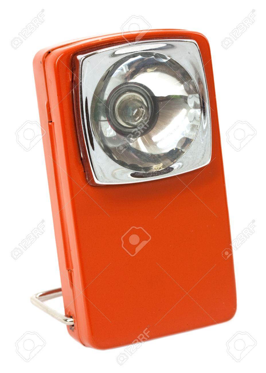 Vintage Orange Lampe De Poche Carre Retro Isole Sur Blanc Banque D