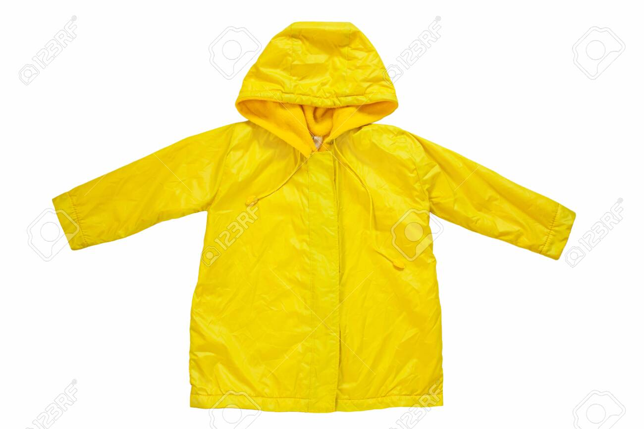 Yellow raincoat on white background isolated. Happy funny kids outwear autumn style clothes. Enjoying rainfall. Happy rainy day concept, Hello Fall greeting card copy space flat lay.Bright rain jacket - 142433594