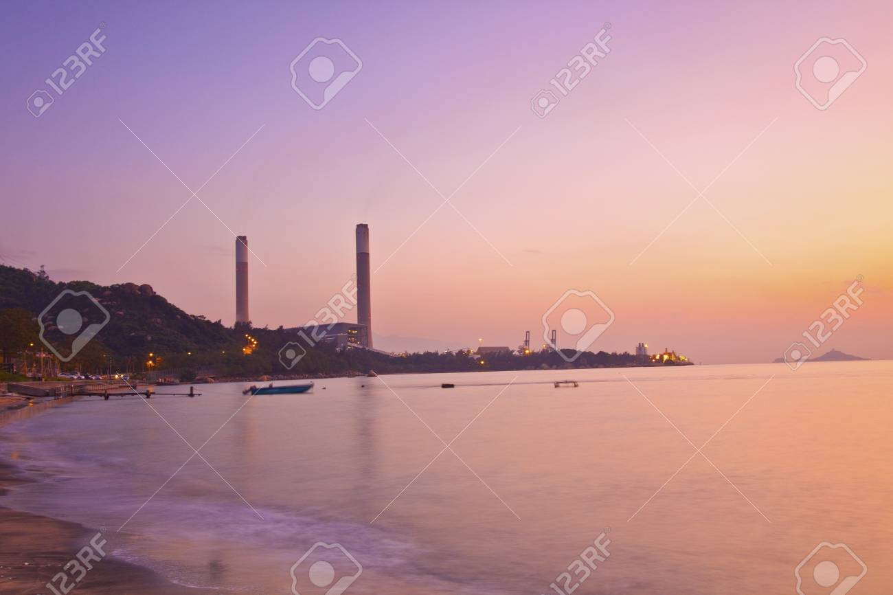 Power plant along the coast at sunset time Stock Photo - 11486825