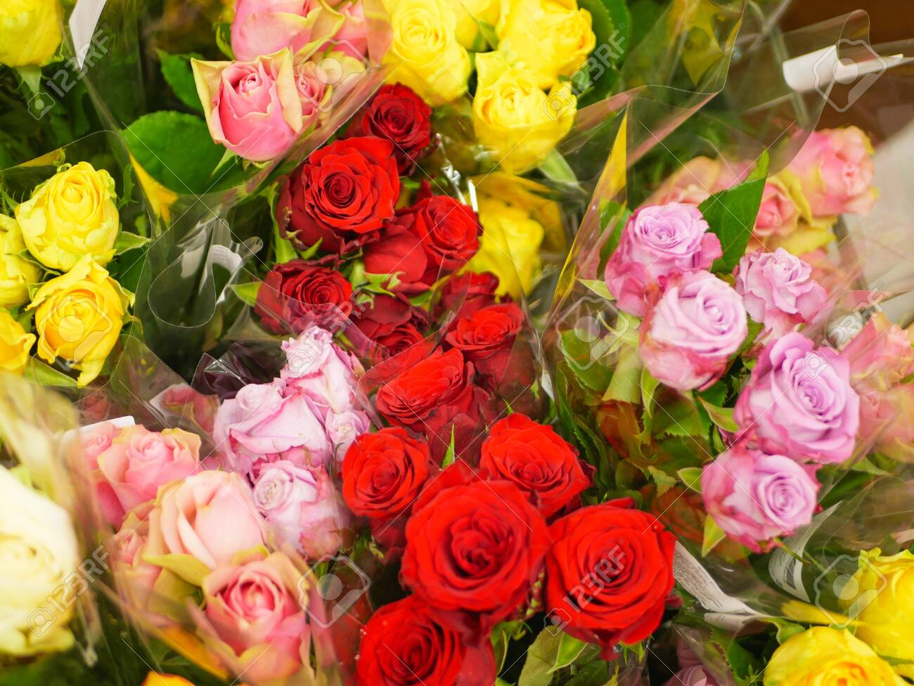bouquets of flowers. Many bouquets of flowers. Roses, lilies, chrysanthemums. Close-up. - 145158490