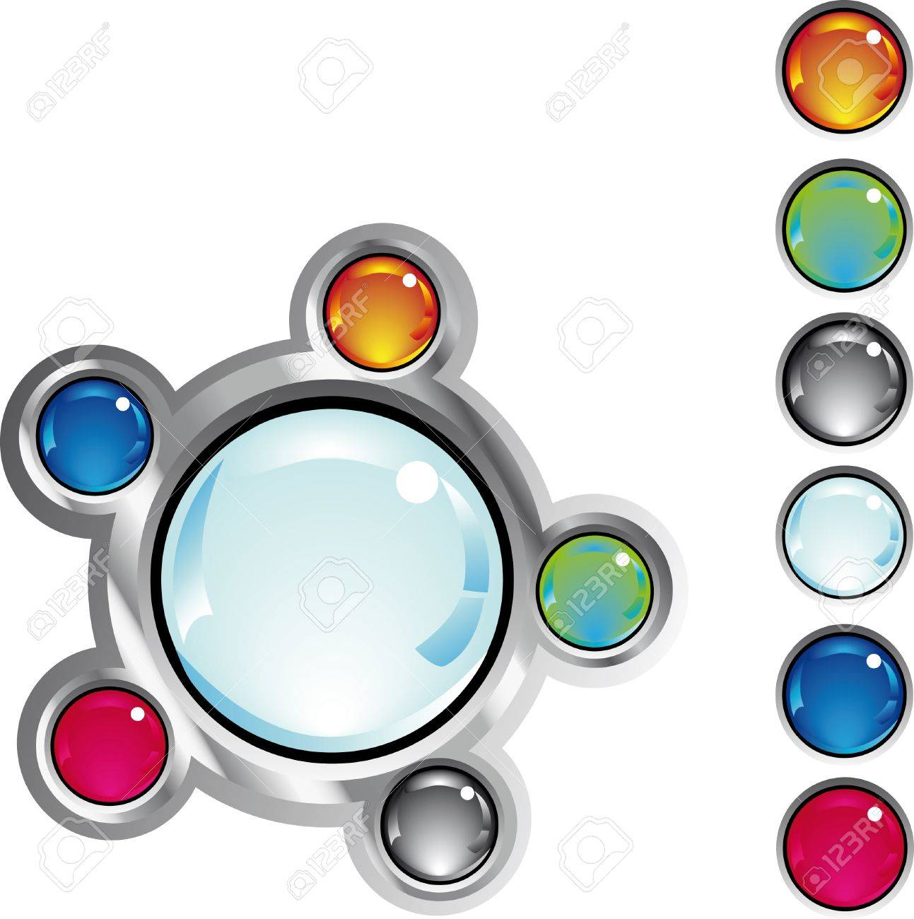 colorful glossy fantasy web buttons in different colors Stock Vector - 4636868