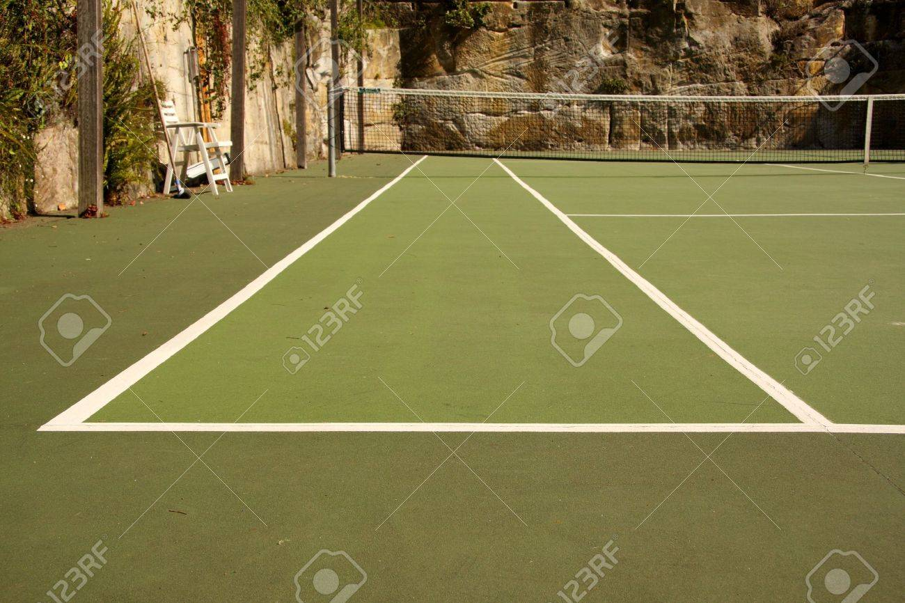 Looking Down A Backyard Tennis Court Tramline Stock Photo Picture And Royalty Free Image Image 4591235
