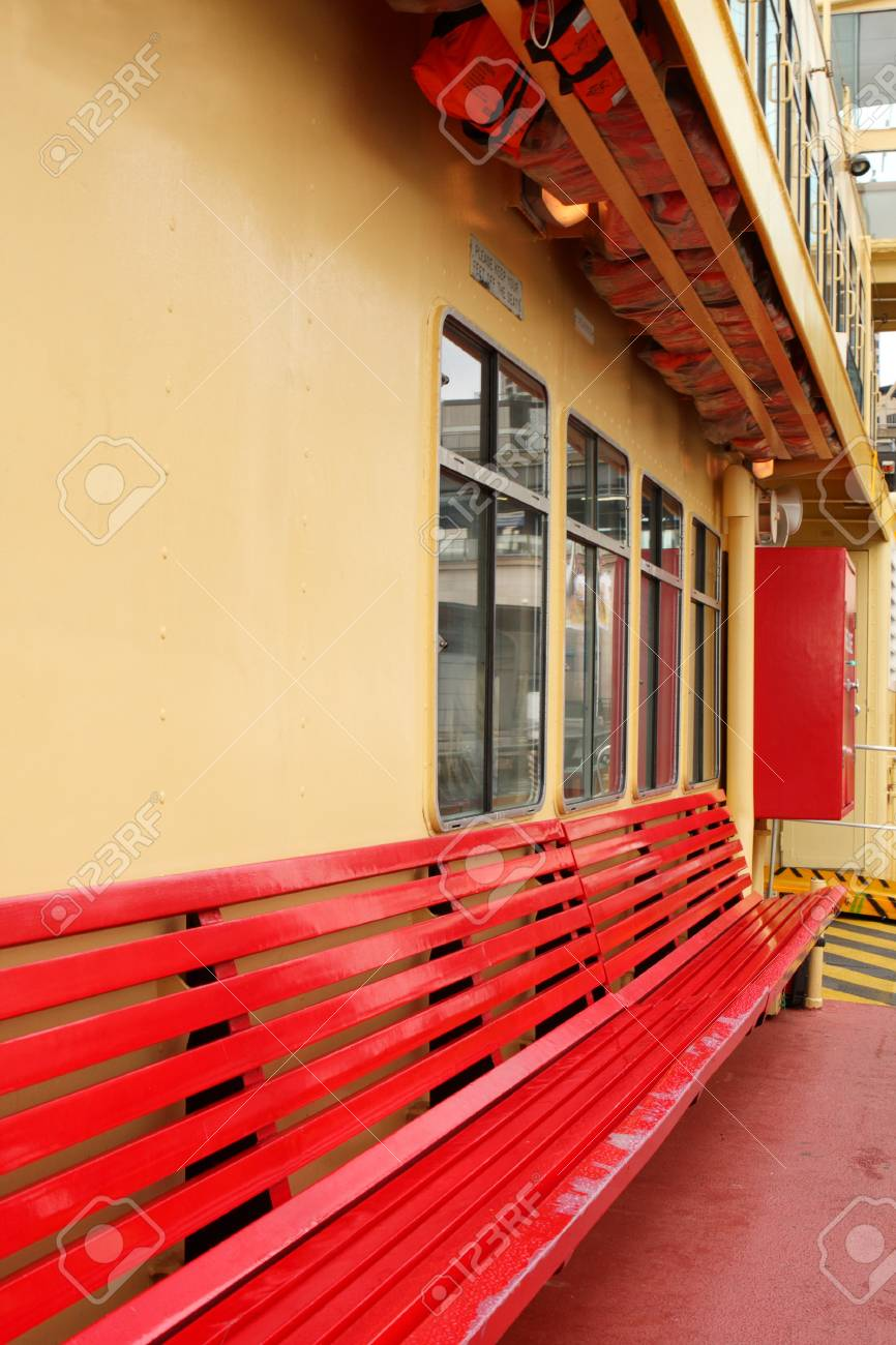 Superbe Empty Red Bench Seat On Ferry Boat Stock Photo   7218424