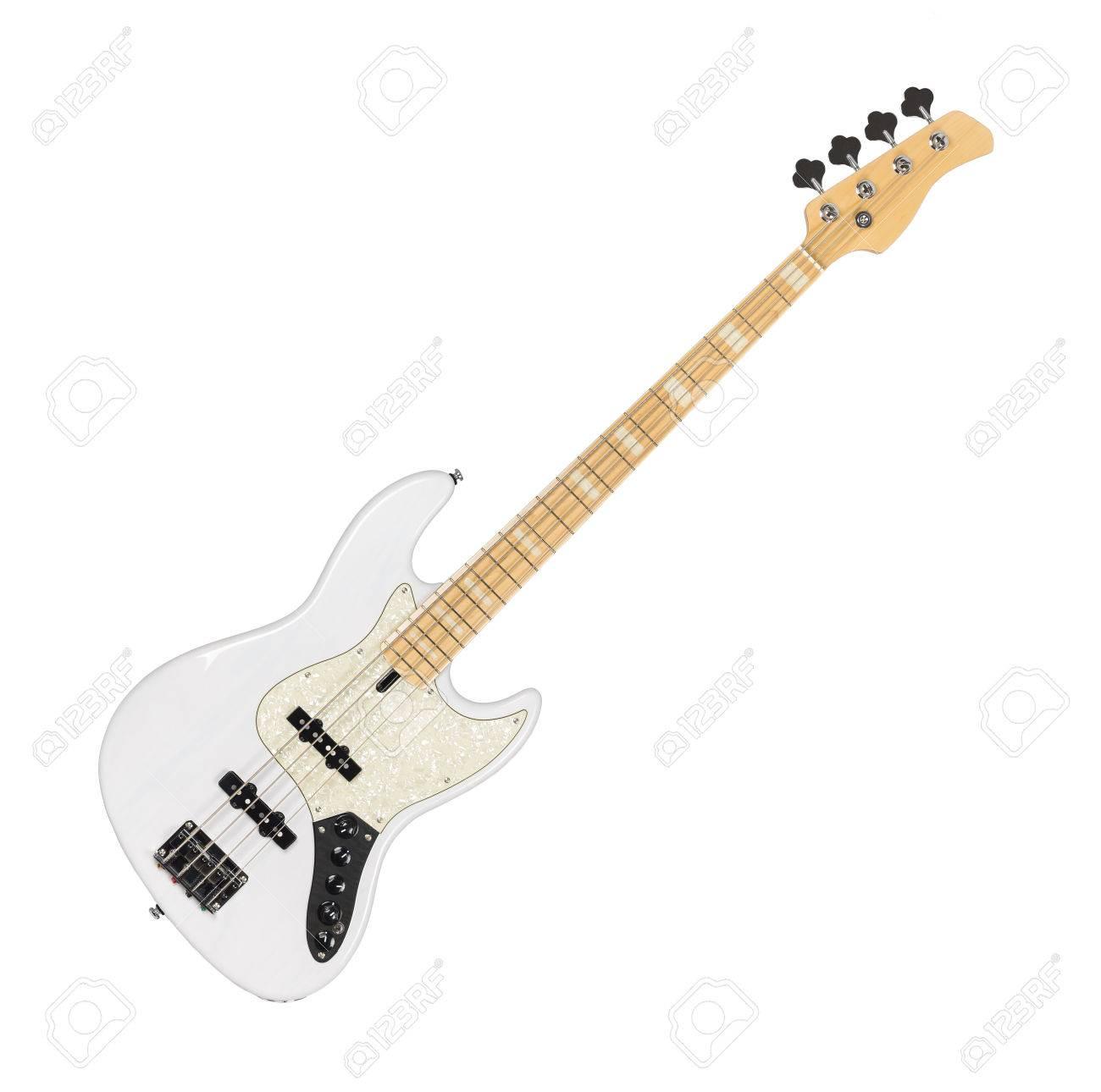 Weiße E-Bass-Gitarre Isoliert Auf Weißem Hintergrund Lizenzfreie ...