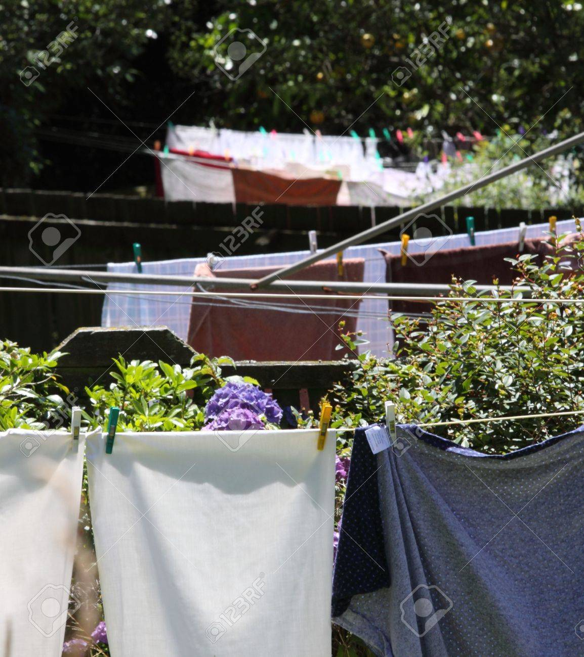 Washing on 3 clotheslines in a row in backyards Stock Photo - 7537787
