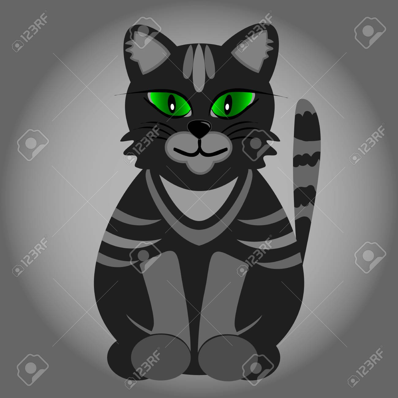 Cute Black Cat With Green Eyes Royalty Free Cliparts Vectors And