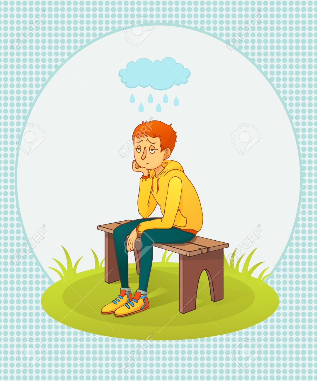 Il nous arrive tous de ne plus avoir le goût de prier : Voici mon partage... 43530044-illustration-vectorielle-homme-triste-assis-sur-un-banc-sous-la-pluie-Banque-d%27images