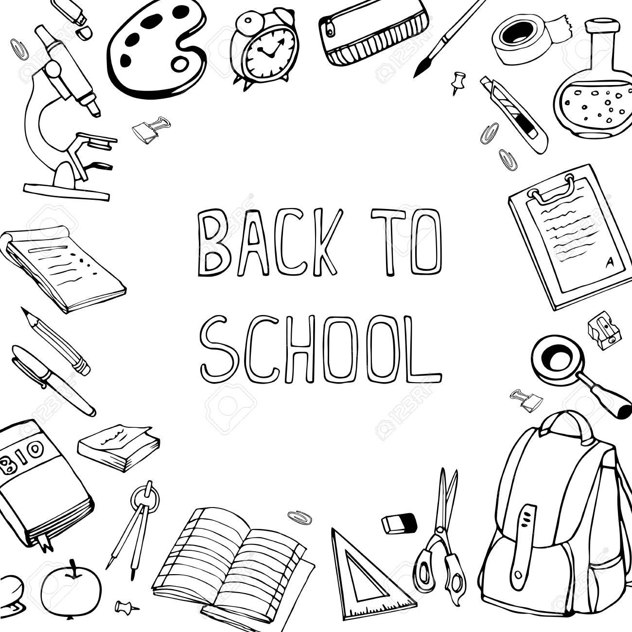 Retour A L Ecole Vecteur Illustration Hand Drawn Doodles Materiel Scolaire Clip Art Libres De Droits Vecteurs Et Illustration Image 60917430