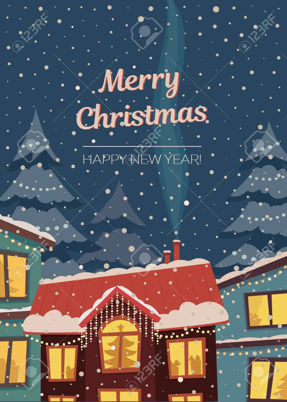 Merry Christmas Vector Vertical Card In Subdued Retro Colors ...