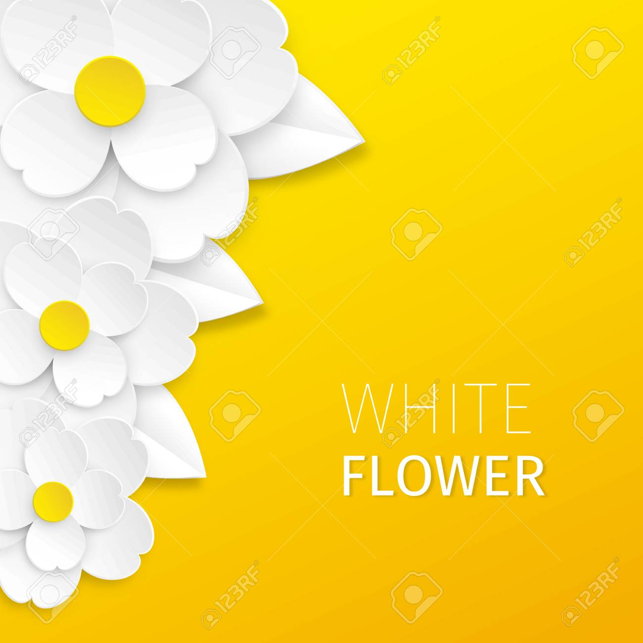Three White Cutout Paper Flowers With Leaves On Bright Yellow