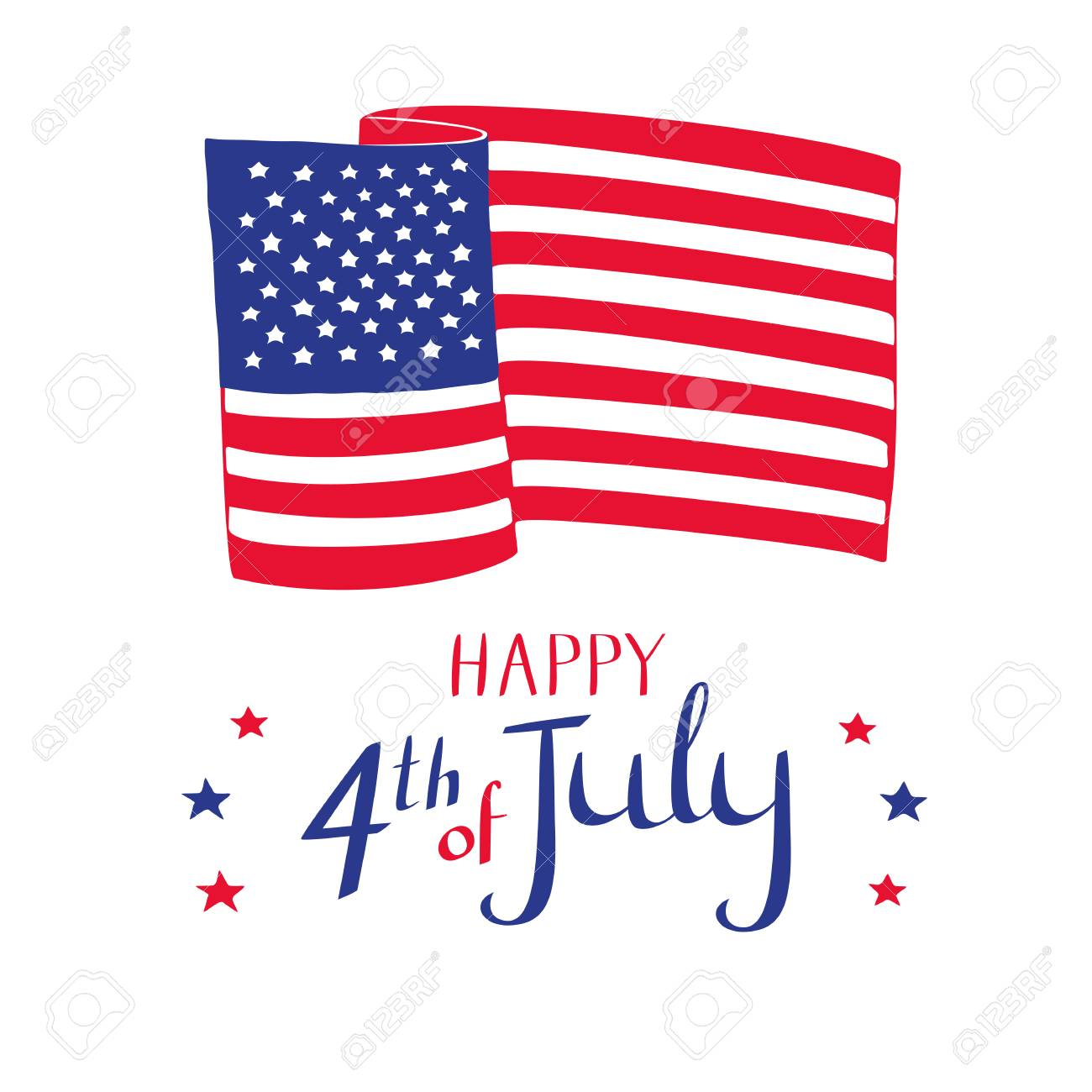 happy 4th of july card hand drawn american flag and stars on