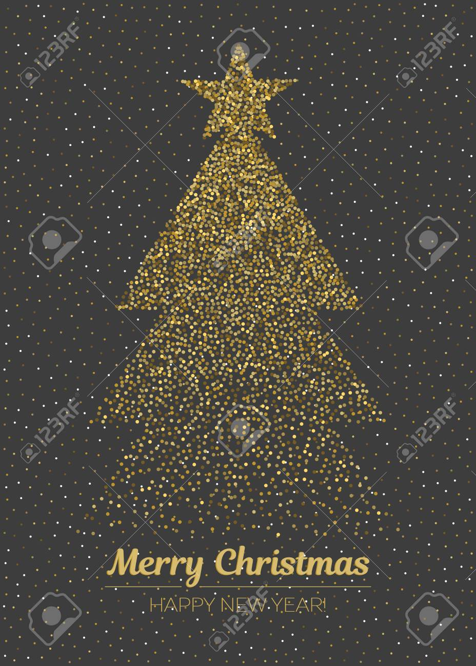 Abstract Golden Christmas Tree On Black Background Vertical Vector Merry And Happy New Year