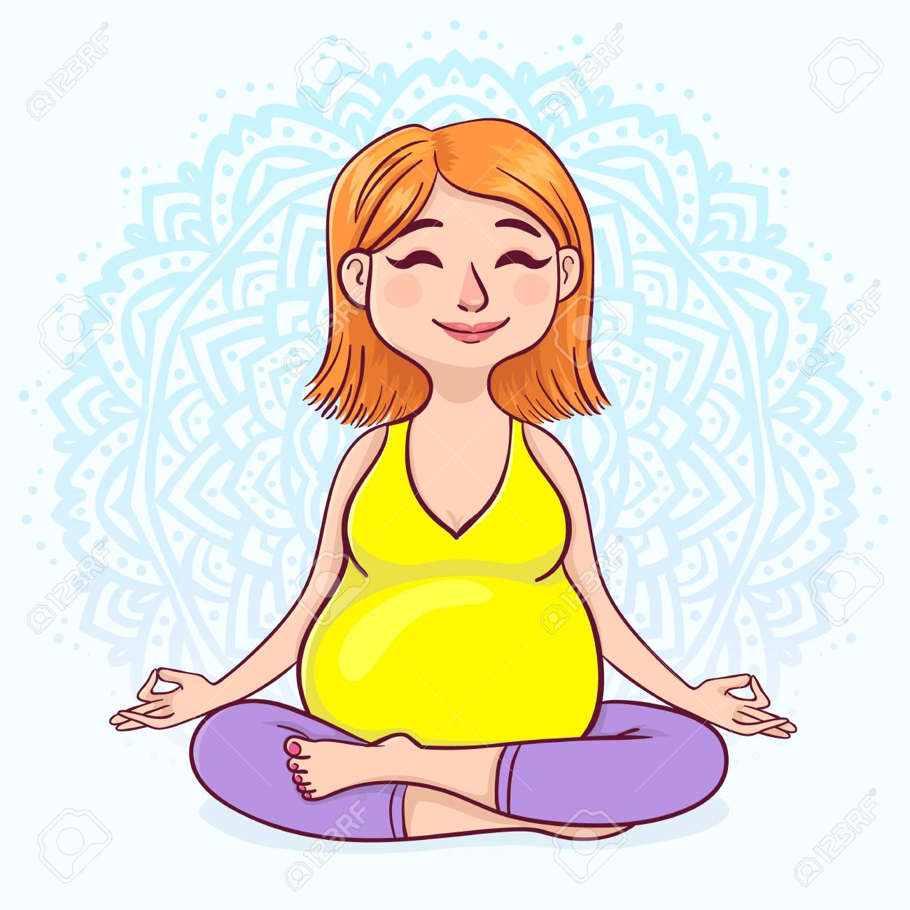 Pregnant Redhead Woman In Lotus Position Against Mandala Background