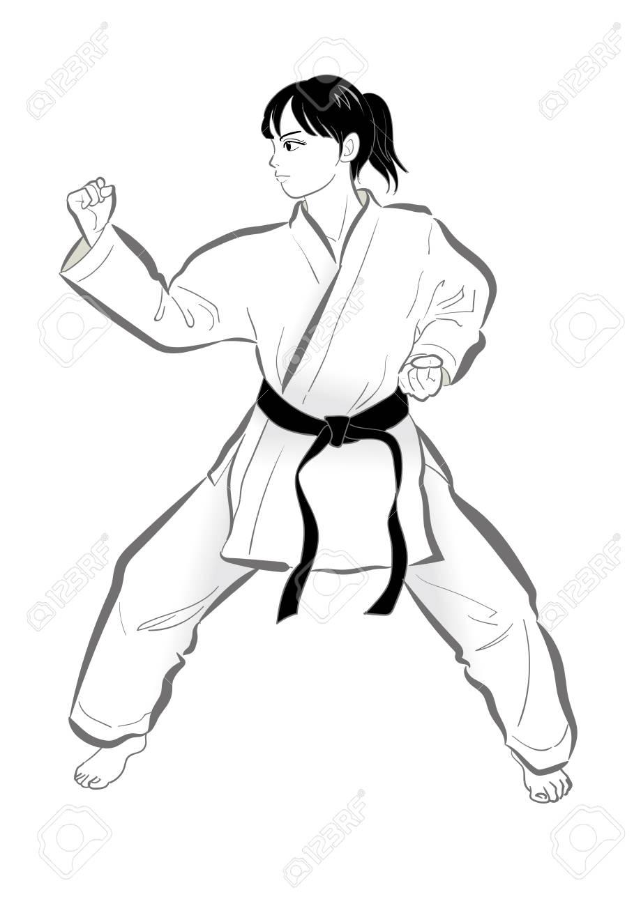 Karate Pose Vector Material Of Japanese Culture