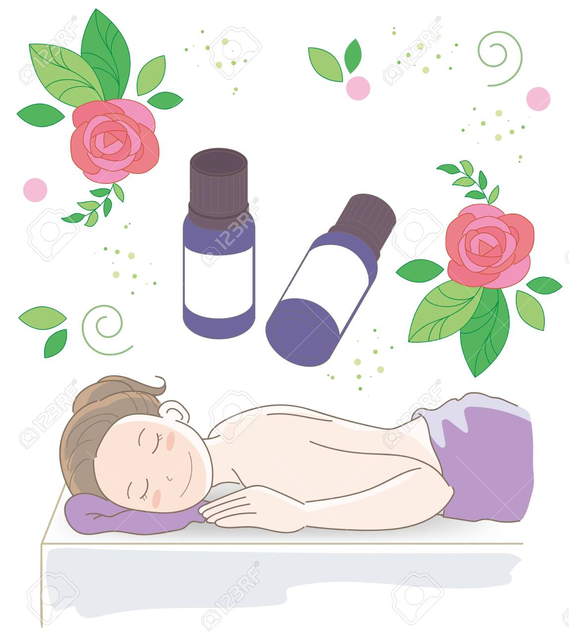 Aroma oil and small bottles - Massage image with rose - 126644091