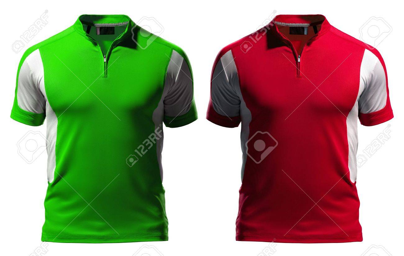 Blank Polo T-shirt Design Template (front) With Zipper Isolated ...