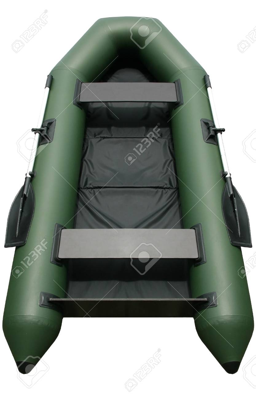 Isolated inflatable rubber-textile boat on a white background Stock Photo - 7981710