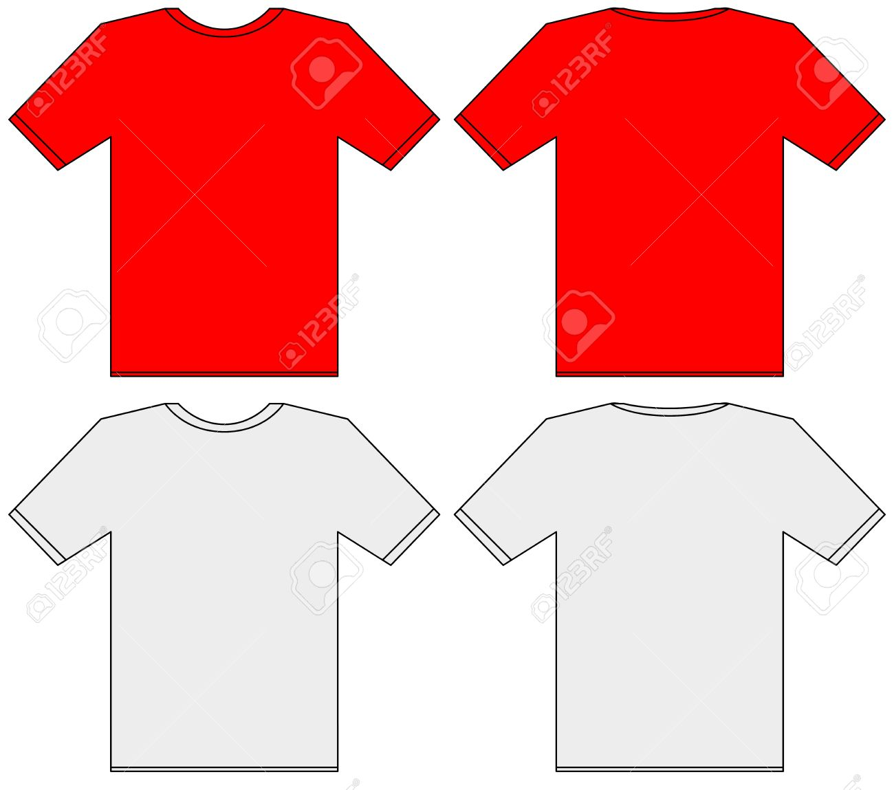 Blank T-shirt Template. Front And Back Illustration Stock Photo ...