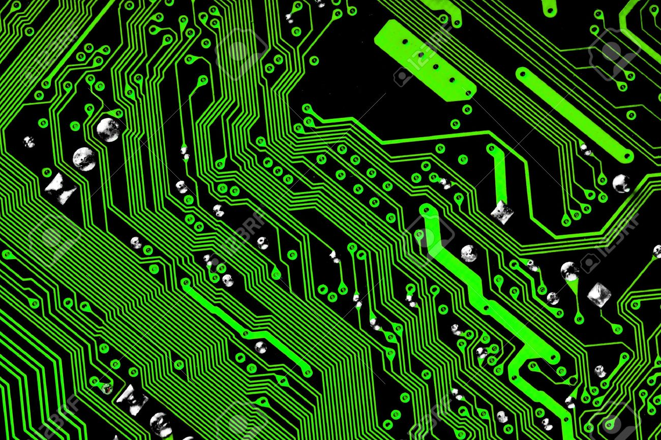 electronic circuit board green black texture stock photo