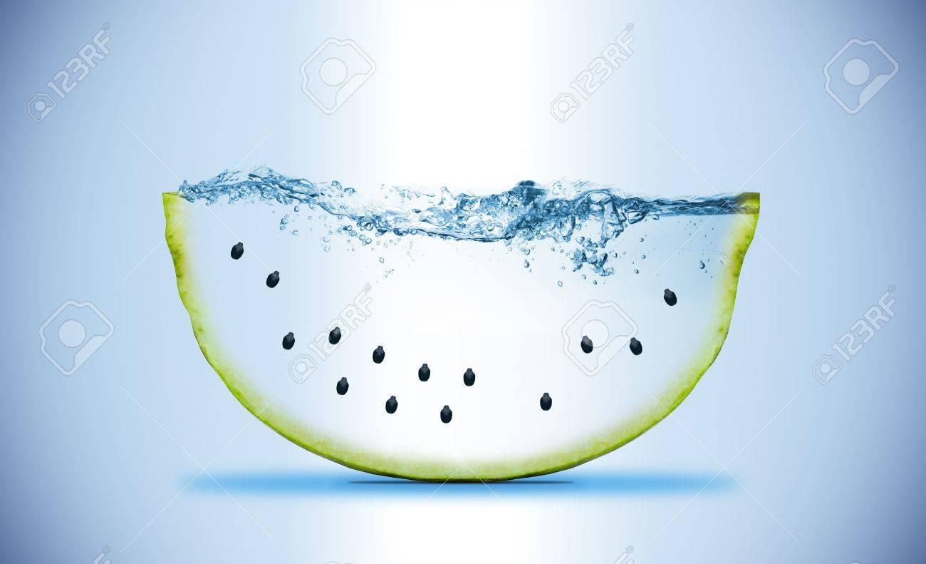 slice of watermelon. Wave. Water splashing Stock Photo - 11105432
