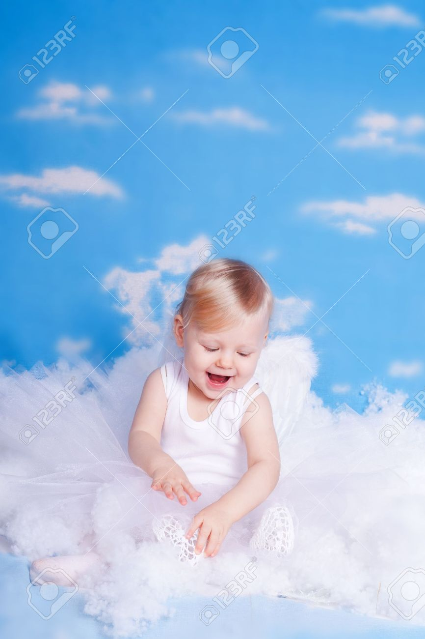 Blue Baby Angels Background Beautiful Girl With Angel