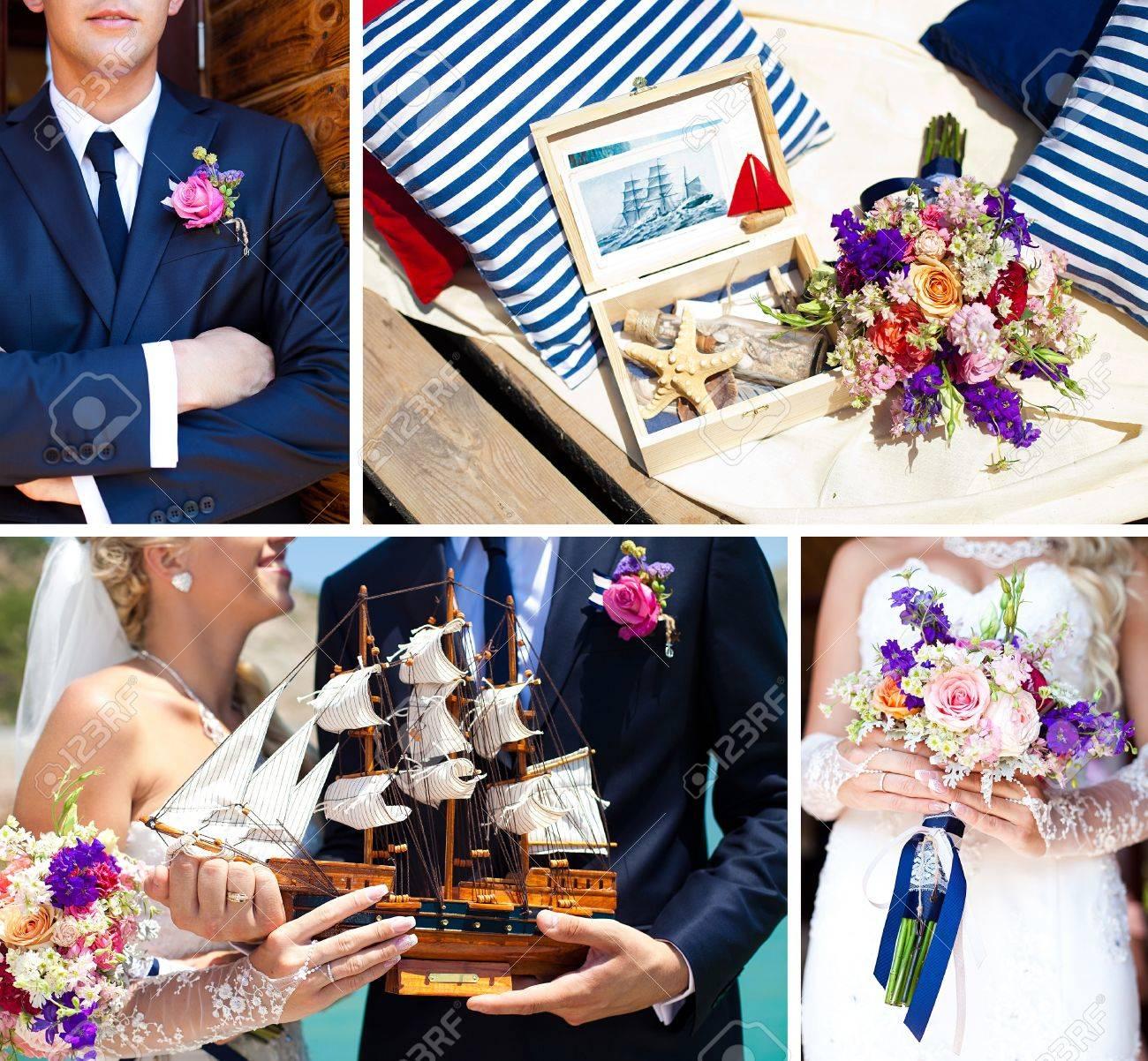 Collage Von Bildern Dekorationen Auf Die Meeresumwelt Hochzeit
