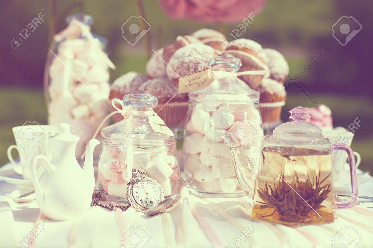 Fantastic dinner sweets on wedding day  Decoration of table  A series of photos in my portfolio Stock Photo - 16347513