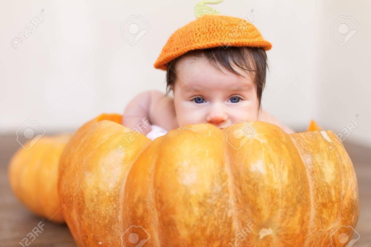Portrait of newborn in pumpkin Stock Photo - 17152729