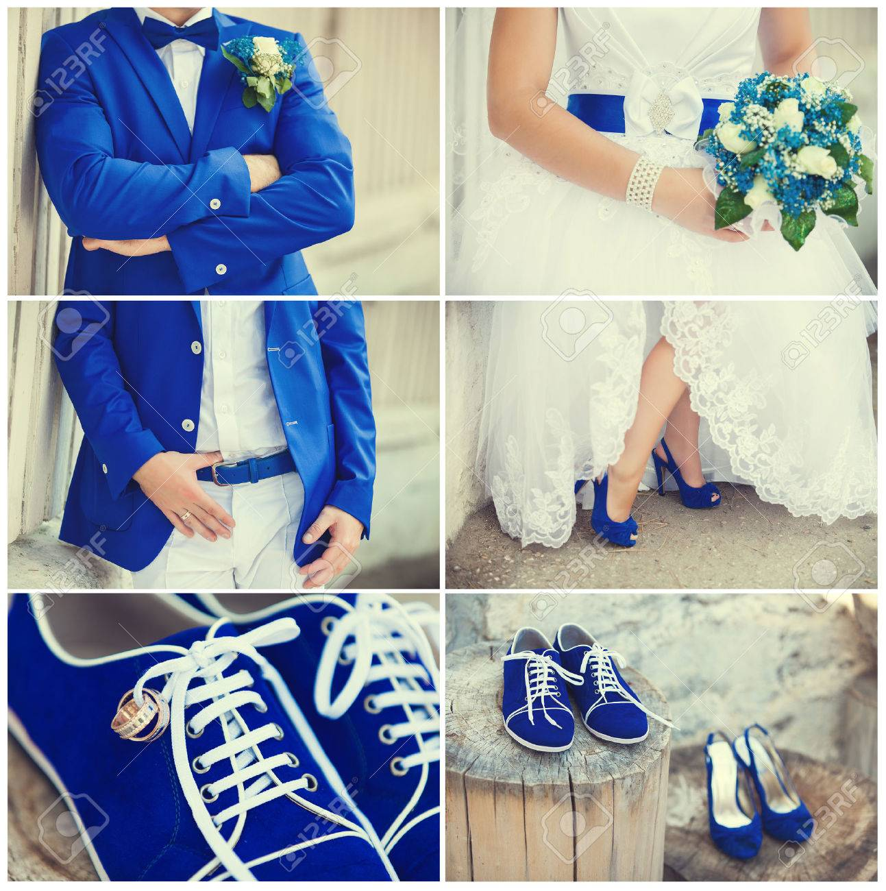 wedding theme collage with beautiful blue theme Stock Photo - 24418854