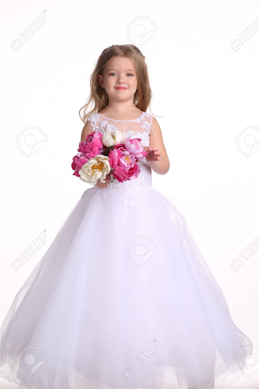 Baby In Wedding Dress With Flowers, Little Bride, Happy Childhood ...